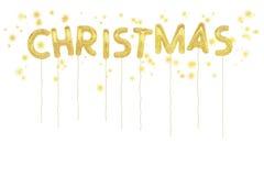 Ballons et étoiles de Noël Ballons de style d'aluminium sur le backg blanc Photographie stock libre de droits
