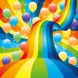 ballons et arc-en-ciel Image stock
