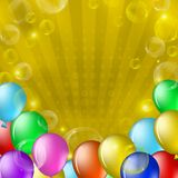Ballons et bulles sur l'or Photos stock