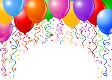 Ballons et confettis Photo stock
