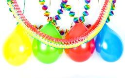 Ballons et guirlandes colorés. Décoration de réception Photographie stock