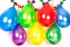 Ballons et guirlandes colorés. Décoration de réception Photos libres de droits