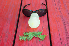 Ballons, feuilles, verres - comme le visage humain Photo stock