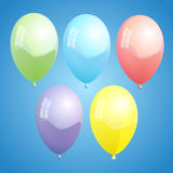 Ballons_fin_01. Vector illustration of colorful ballons on blue background Royalty Free Stock Images