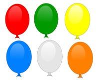 Ballons geïsoleerdeo reeks van 6 Stock Foto