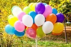 Ballons in Gele de Herfsttijd van het de herfstpark Stock Foto