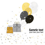 Ballons greeting with gift box and confetti Stock Image