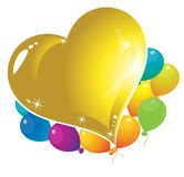 Ballons and heart. Colorful hearts. celebration balloons. balloons for children Royalty Free Stock Photos