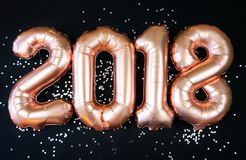 Ballons 2018 heureux de nouvelle année d'or Image stock