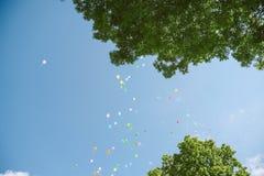 Ballons i de hemel Stock Foto's