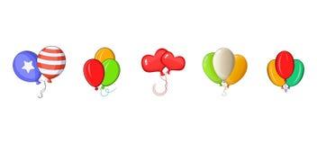 Ballons icon set, cartoon style. Ballons icon set. Cartoon set of ballons vector icons for web design isolated on white background Stock Photography