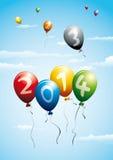 Ballons indiquant la nouvelle année 2014 Photographie stock libre de droits