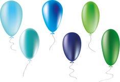 Ballons koude kleuren Royalty-vrije Stock Afbeeldingen