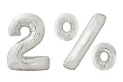 Ballons métalliques de chrome de deux pour cent sur le blanc Photos libres de droits