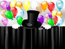 Ballons magiques de chapeau et de partie Photo stock