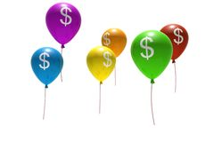Ballons met dollarsymbolen Stock Foto's