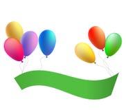 Ballons met een gelukwensband Vector Royalty-vrije Illustratie