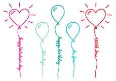 Ballons met tekst, vectorreeks Stock Foto