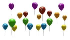 Ballons met vraag-teken symbolen Royalty-vrije Stock Foto's