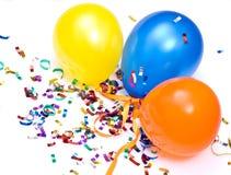 Ballons och konfettiar Arkivbild