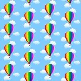 Ballons och moln för modellwhith färgrika Royaltyfri Foto