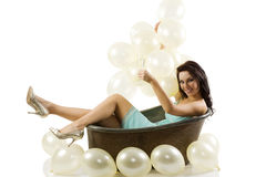 Ballons and old fashion bath Royalty Free Stock Photo