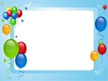 Ballons op een blauwe grens Royalty-vrije Stock Foto's