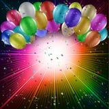 Ballons op een starburstachtergrond Royalty-vrije Stock Foto's