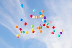 Ballons op hemel Royalty-vrije Stock Fotografie