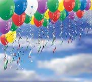 Ballons op hemel stock illustratie