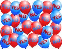 Ballons oui aucun Photographie stock libre de droits