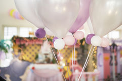 Ballons in a party. Soft colour ballons in a birthday party Stock Image
