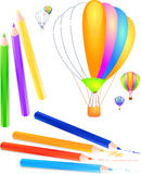 Ballons and pencils Royalty Free Stock Photography