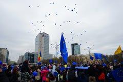 Ballons pour le jour d'Union européenne à Bucarest, Roumanie Photographie stock libre de droits