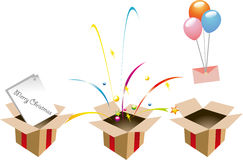 Ballons,ribbons,letter and books out of open boxes Stock Images