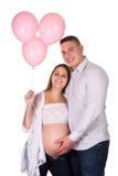 Ballons roses pour la femme enceinte photos libres de droits