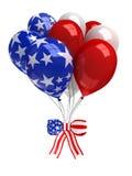 Ballons rouges, blancs, et bleus d'isolement sur le blanc Photos libres de droits