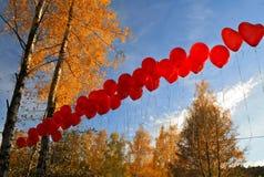 Ballons rouges dans la forêt d'automne Photos stock
