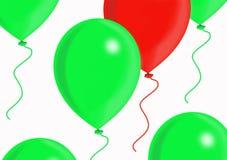 Ballons rouges et verts Images libres de droits