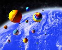 Ballons in ruimte Royalty-vrije Stock Fotografie