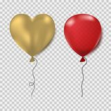 Ballons set. Red oval and gold heart form. Realistic decorations for party, birthday, Valentine`s day and outher celebrations. Royalty Free Stock Image