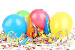 Ballons, streamers, confetti Stock Images