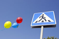 Ballons on the street passage Stock Images