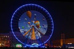 Ballons sur la grande roue de Bellecour Image libre de droits