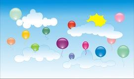 Ballons sur le ciel Illustration de Vecteur