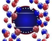 Ballons translucides sur un fond blanc Endroit pour une inscription PH stylisé dans des couleurs des USA Illustration Image libre de droits