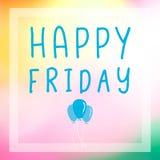 Ballons und glückliche Freitag-Buchstaben auf abstrakte Unschärfe schönem ligh Lizenzfreie Stockbilder