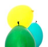 Ballons verts, bleus, jaunes Images stock
