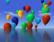 Ballons in water. 3d rendering of ballons in water Royalty Free Stock Photos