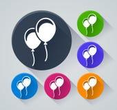 Ballonscirkelsymboler med skugga Royaltyfria Bilder